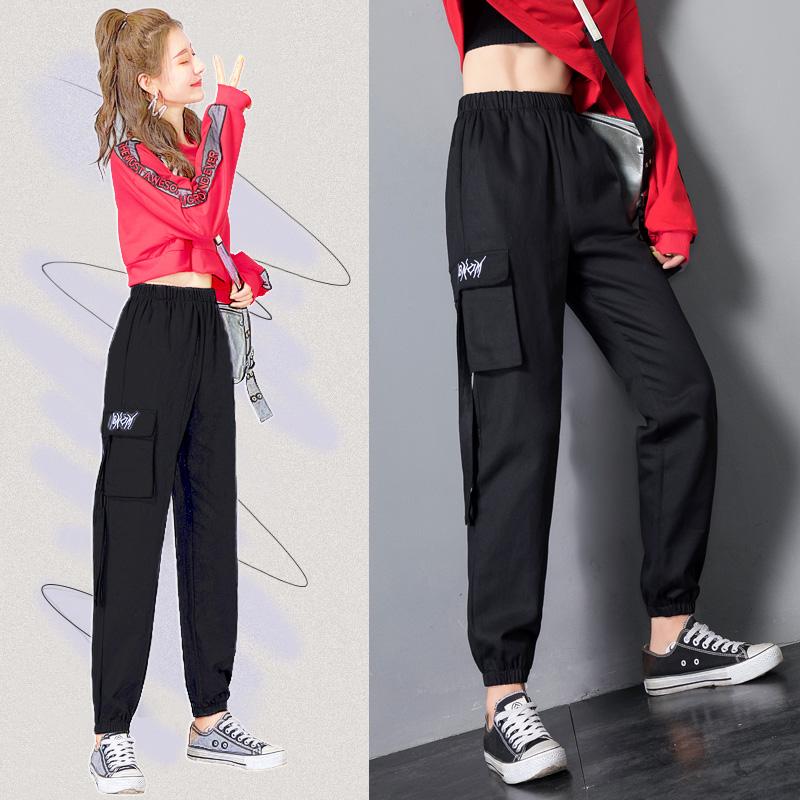 2019新款胖妹妹穿搭胯大腿粗的裤子显瘦女套装工装裤大码女装秋装