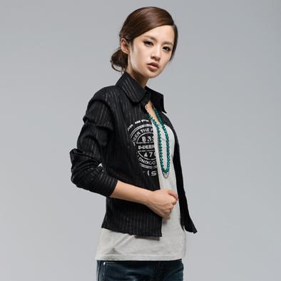 женская рубашка S.deer 6380520 Sdeer Городской стиль Длинный рукав В полоску Воротник-стойка
