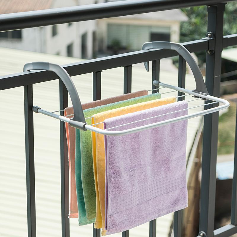 ORZ 灰色毛巾晾晒架 浴室毛巾架阳台晒鞋架毛巾杆小型晾衣架