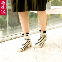拾袜记 4双装卡通袜日系可爱女袜 韩国袜子女春秋中筒纯棉短袜萌