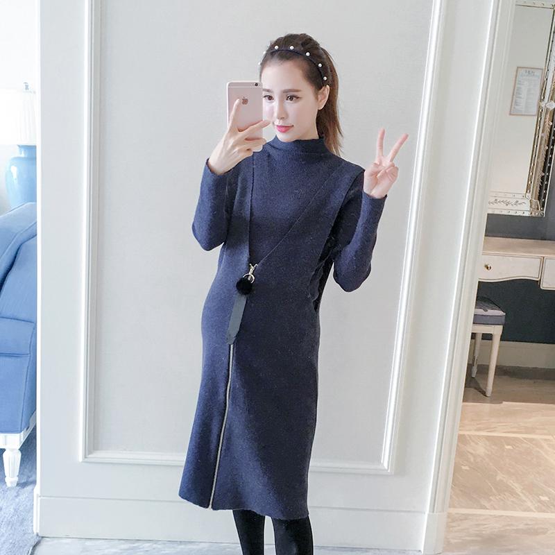 hotmom秋冬孕妇装套装时尚中长款针织背心裙半高领打底衫两件套