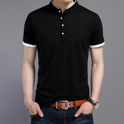 乔诺恩青年男士短袖T恤立领纯色棉T修身百搭时尚休闲韩版潮流