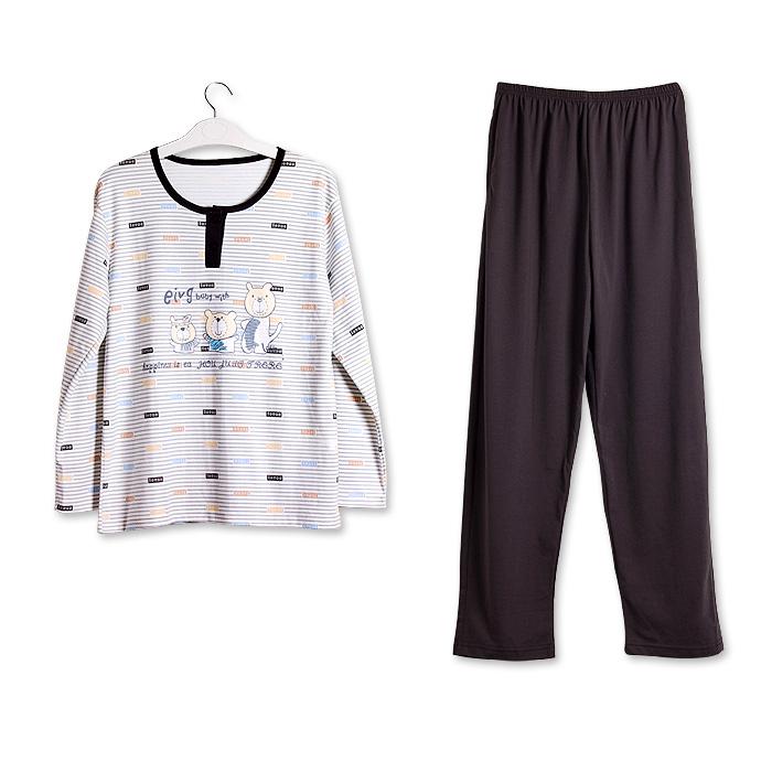 Пижама Sherry 2011 2812 Хлопковый трикотаж В полоску Свитер Для отдыха дома Для пары
