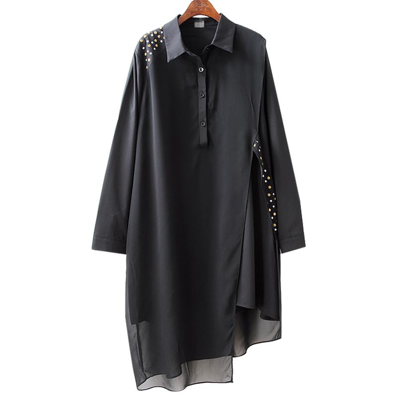 2件包邮 雪纺拼接假两件长袖衬衫 胖MM显瘦不规则大码铆钉连衣裙