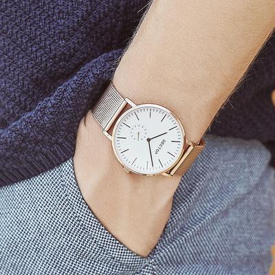迪卓正品超薄防水男士手表时尚简约2019新款真皮学生钢带石英表男