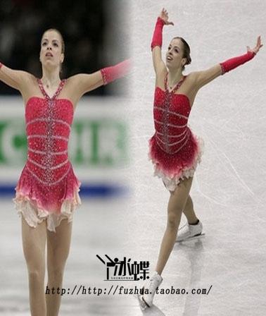 冰蝶专业定做花样滑冰表演服装 粉色花式溜冰裙高级定做图片