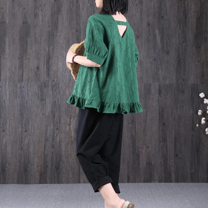 绿素棉 原创文艺镂空木耳边短袖显瘦纯色T恤女夏季V领娃娃衫体恤