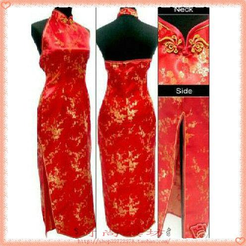 Платье Ципао Китайский костюм qipao монополия продажи этикет Brocade cheongsam сливы цветение Холтер длинное платье пурпурно-розового