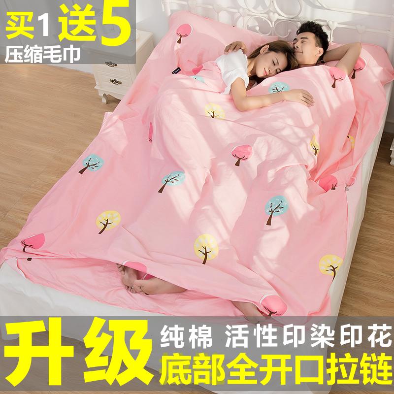 成人旅行睡袋隔脏纯棉超轻薄便携酒店室内被套床单人双人旅游睡袋