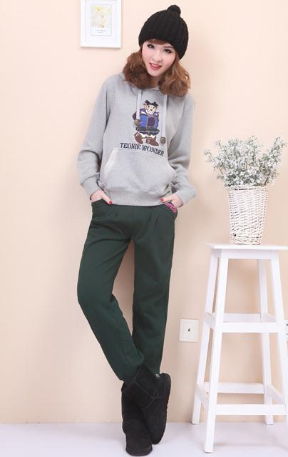 Женские брюки Не Корейский плюшевый медведь высокой талии тонкий увеличение плюс удобрения Вэй брюки повседневные брюки, спортивные брюки, сапоги и брюки женщин исцелить ноги Длинные брюки Узкие брюки-карандаш Повседневный Утеплённая модель