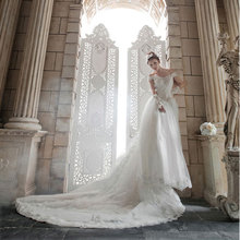 Korean Lace Fitted Bodice and Trailing Wedding Dress Straps Plus Size New Model 2014 Brides