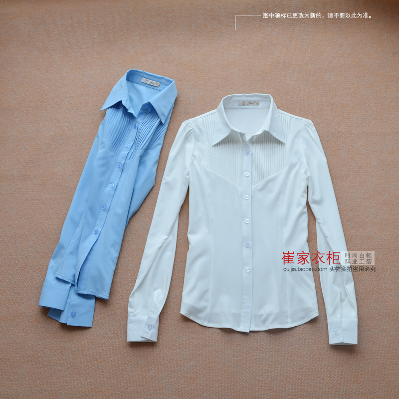 2013 spring new OL commuter wear lapel chiffon shirt female long-sleeved white shirt stretch