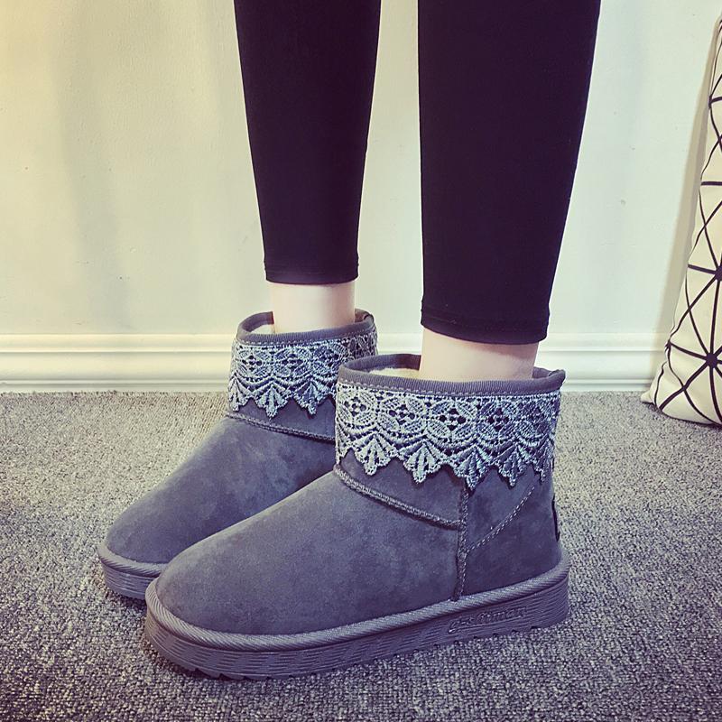 冬季新款韩版女鞋2016蕾丝花边加绒保暖棉鞋平底短靴雪地靴女靴子