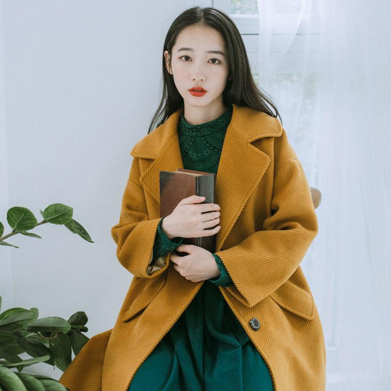 梅子熟了 2016冬装新款 复古文艺毛呢外套女 清新中长款大衣女装