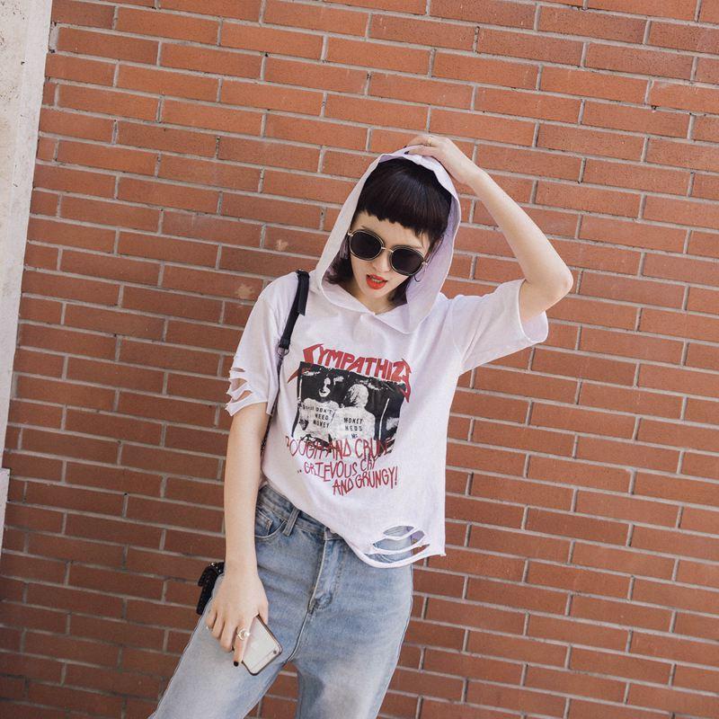 17春夏新品宽松显瘦带帽印花纯棉半袖T恤打底衫上衣短袖女 学生