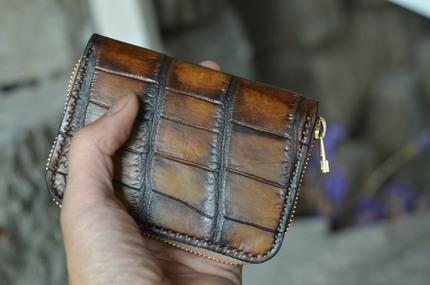 现货一个,一件一拍,工匠老奴手工皮具 鳄鱼肚皮拉链钱包