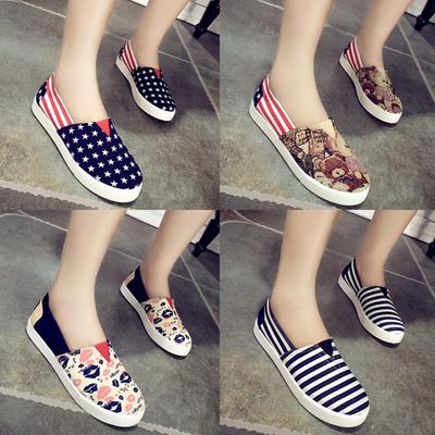 韩版春季布鞋女鞋一脚蹬懒人鞋厚底帆布鞋透气平底玛丽鞋潮流单鞋
