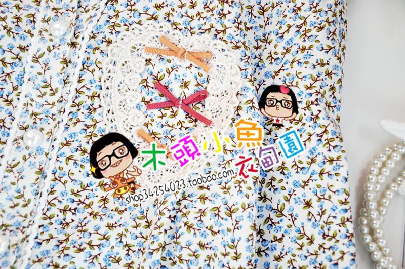 женская рубашка Сладкие искусства свежие и мило мало цветочные патч леди идиллической лацкане длинный рукав рубашки XL Милый Длинный рукав Рисунок в цветочек Зима 2012 О-вырез