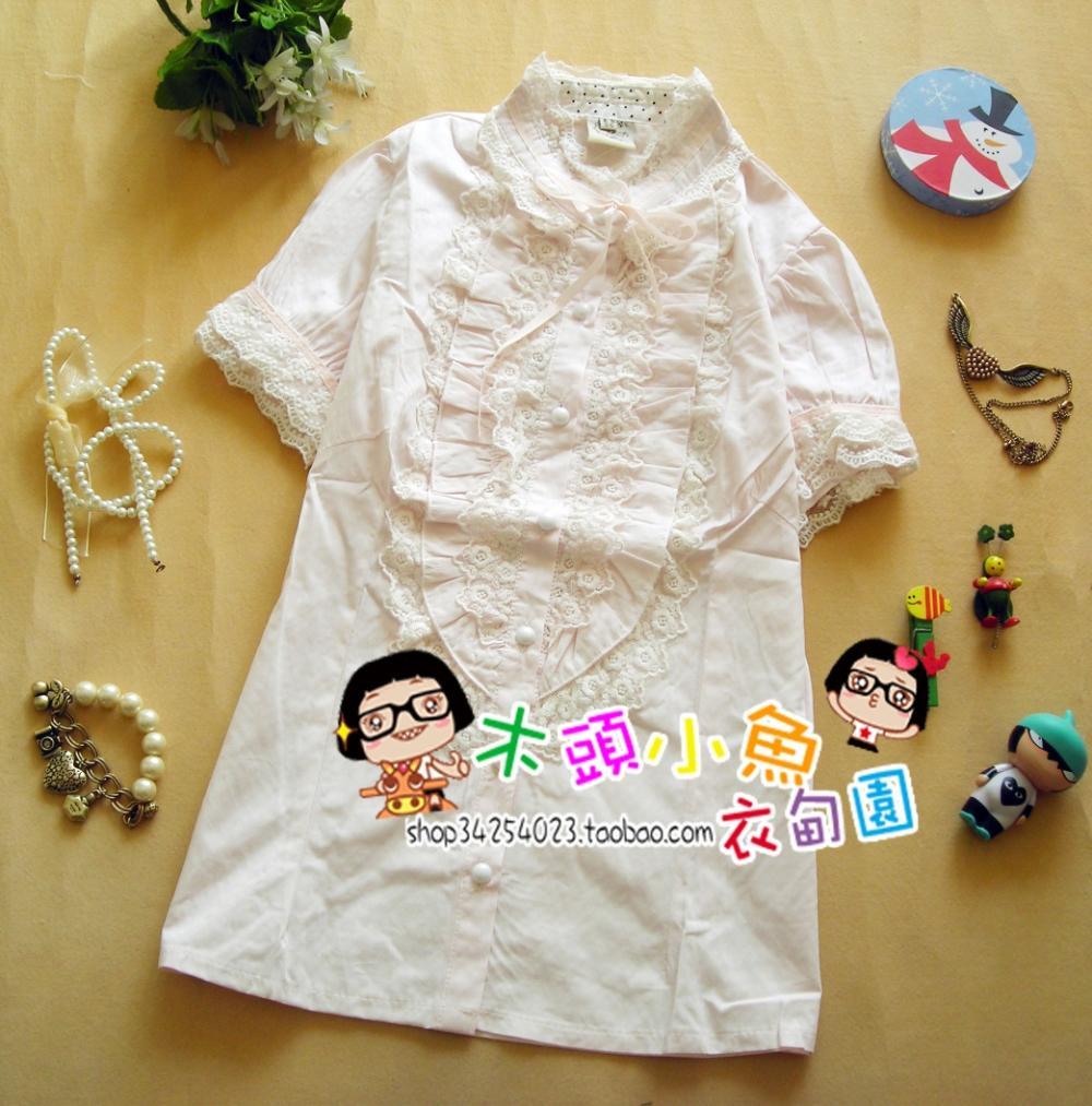 женская рубашка 1838 Повседневный Короткий рукав Однотонный цвет Лето 2012 Бантик бабочкой, Кружево Воротник-стойка