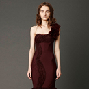 Unique 2013 Asymmetric Slim Taffeta Burgundy One Shoulder Scalloped Layers Pleated Skirts Mermaid Trumpet Wedding Gowns