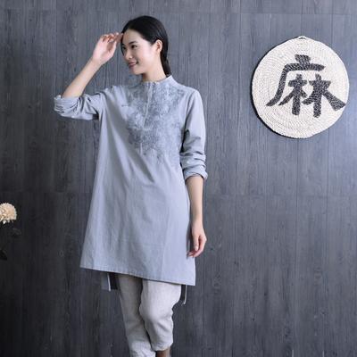 文艺范立领绣花棉麻衬衫