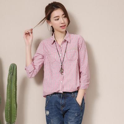 初念韩版条纹棉麻长袖衬衫