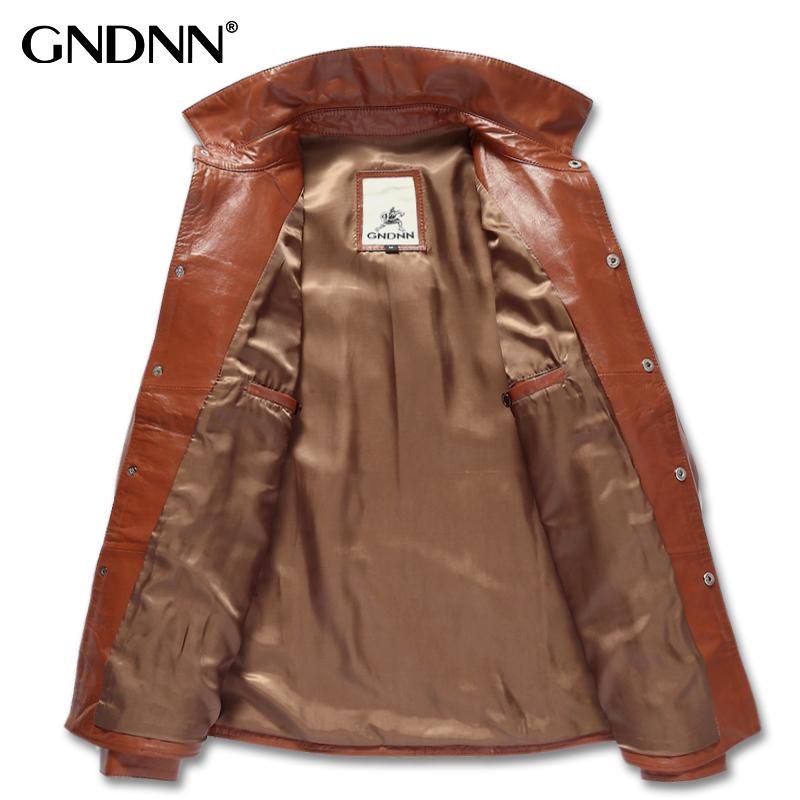 Одежда из кожи GNDNN lc102 Одежда из натуральной кожи Овечья кожа Осень Рубашечный воротник
