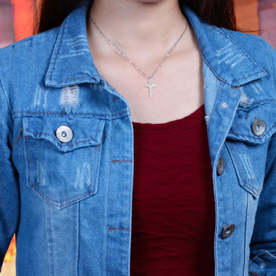 Xingyunshi Smart Special Cross Pendant Long Silver Unisex Chain Necklace