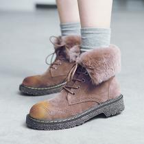 MASOOMAKE布洛克加绒兔毛短靴女平底 2016新款毛毛靴子女冬马丁靴