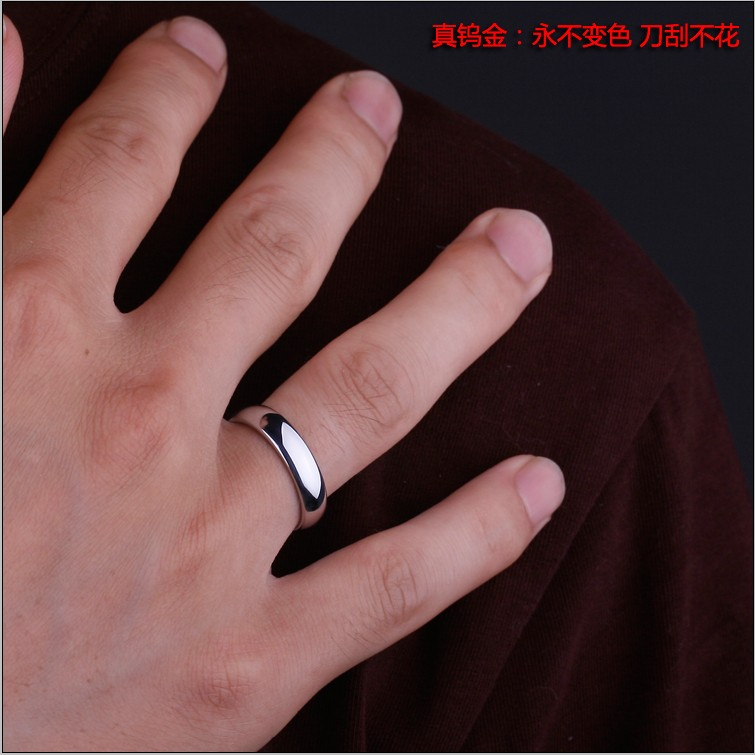 White Tungsten Gold Men Women Jewelry Single Rings Tail Rings Glossy