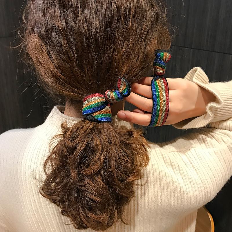 韩国秋冬简约彩虹发绳橡皮筋发饰可爱扎头发豹纹发圈头绳女高弹力