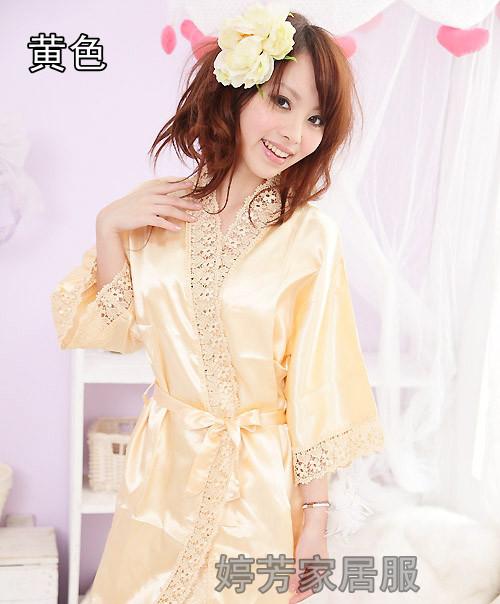 Пижама Летом ремень короткие рукава Принцесса шелк кружева милые дамы sexy ночная рубашка Nightgown, двухсекционный пижамы цельный Однотонный цвет Для отдыха дома Девушки