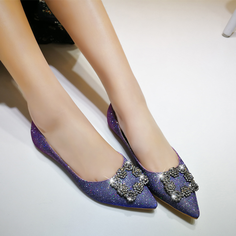 春新款韩版尖头平底鞋浅口女单鞋水钻平跟女鞋工作鞋软底婚鞋小码