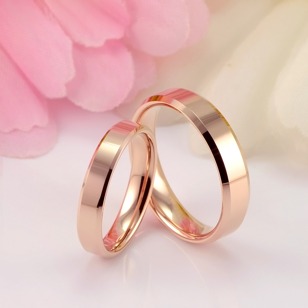 Plated Rose Gold Tungsten Gold Wedding Rings Couple Rings Lovers ...