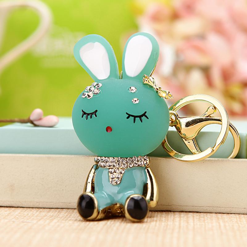 水晶水钻可爱小兔子汽车钥匙扣女包挂件钥匙链圈饰品韩国创意礼品