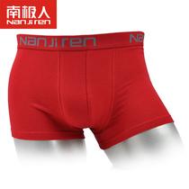 南极人2条装男士本命年红内裤加肥加大 棉质面料裤头红色内裤平角
