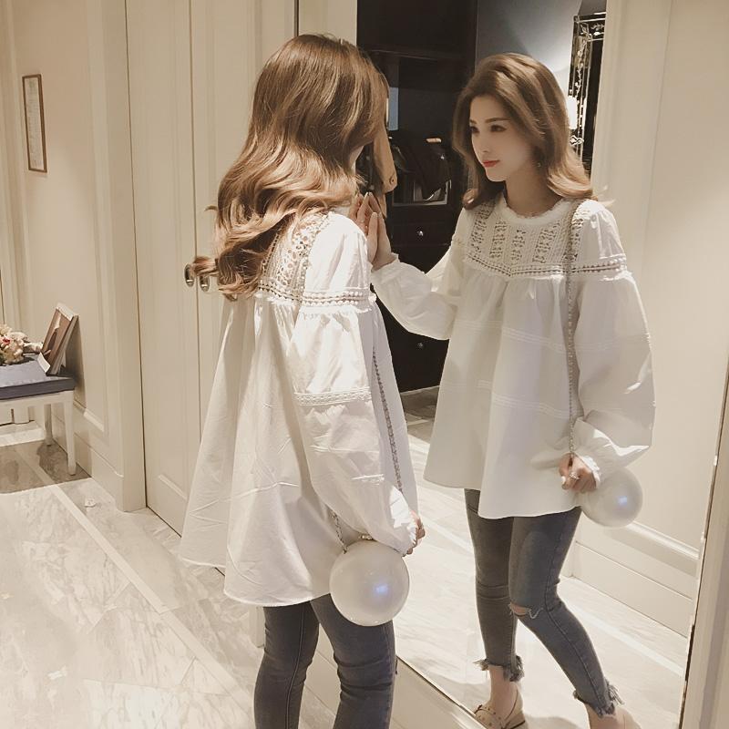 2017春装新款韩版宽松钩花镂空蕾丝拼接白色娃娃衫女蕾丝衫上衣