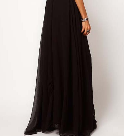 Big air designed spacious double floor skirt black skirt dress chiffon skirt sling haoduoyi