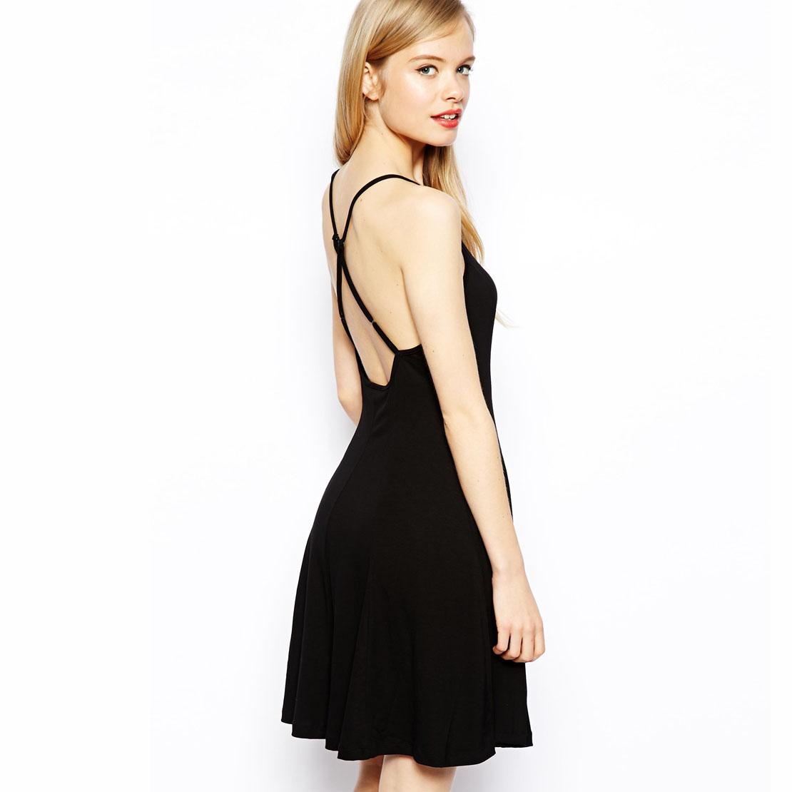 Basic models in Europe and America elegant adjustable cross strap black dress knitted fabrics haoduoyi