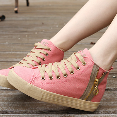 The singles were genuine canvas shoes Korean wave of high-top lace tendon at the end of spring and autumn solid color sweet fashion shoes