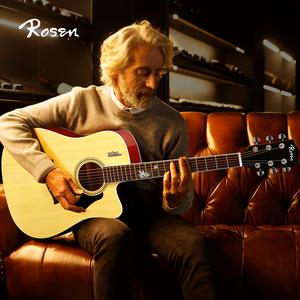 Rosen卢森G12F单板吉他初学者学生男女用民谣木吉他41寸入门乐器