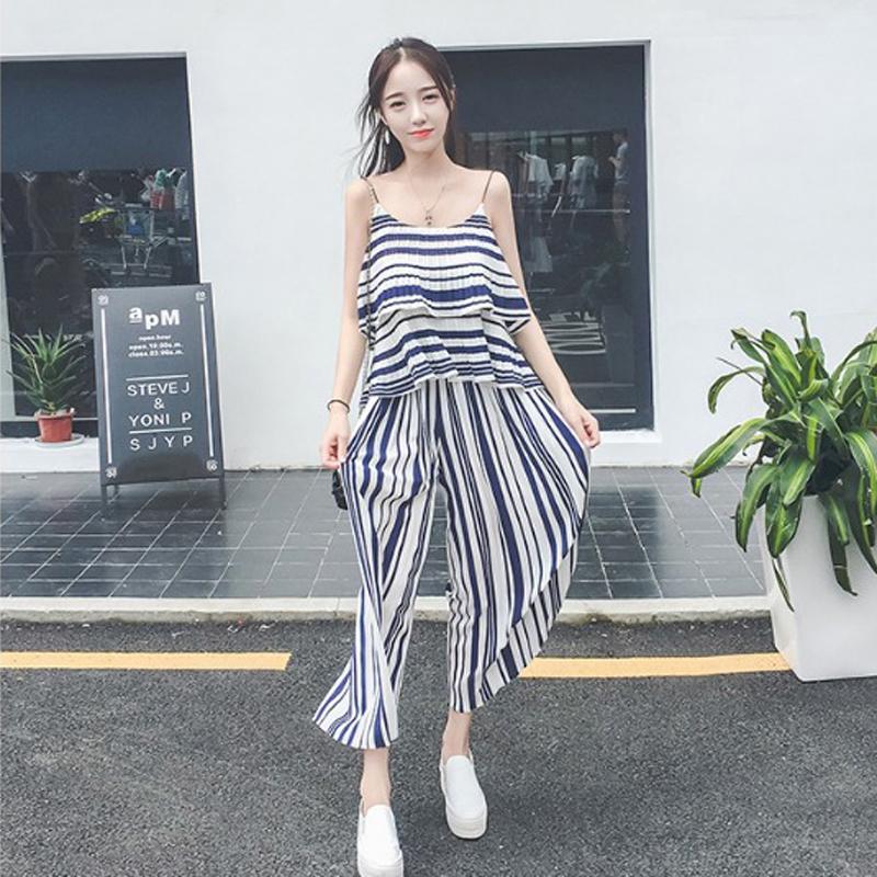2017春装新款女装韩版夏季两件套夏天吊带阔腿裤套装夏装时尚潮