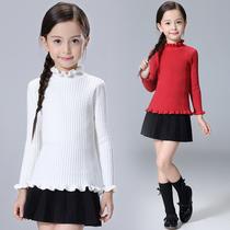 女童毛衣套头圆领秋冬装新款中大童打底衫小女孩纯色韩版针织衫