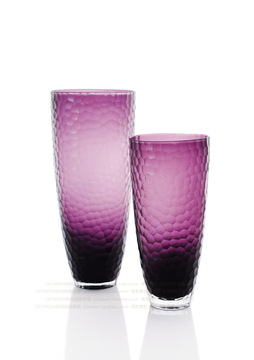 Purple frosted glass vase ornaments / minimalist modern style flower / Home model house living room soft furnishings