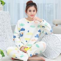新品睡衣女秋冬季加厚法兰绒 加绒长袖家居服套装可爱甜美珊瑚绒