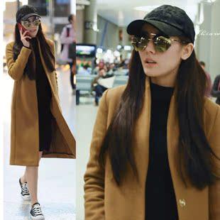 漂亮的李慧珍明星迪丽热巴机场同款驼色毛呢大衣外套
