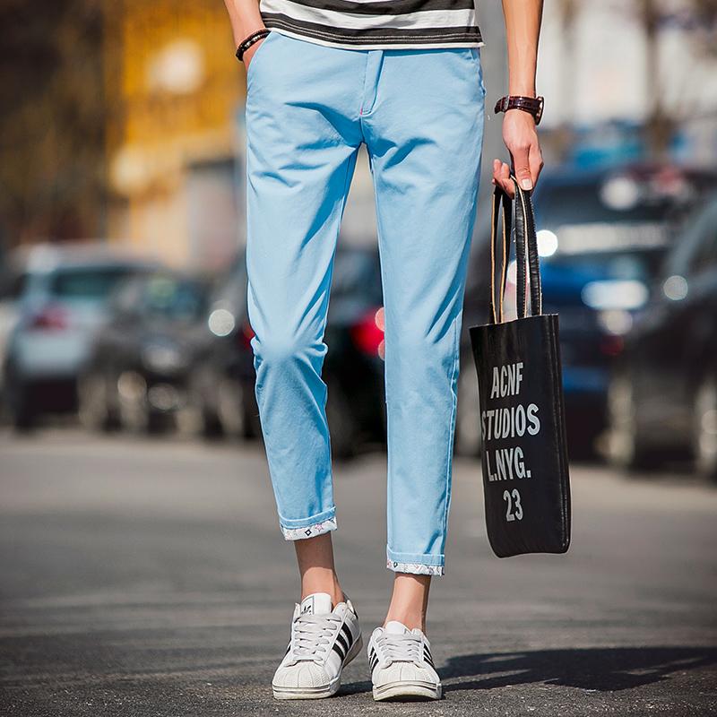 夏季男士休闲裤 男九分裤 纯棉薄款可折叠短裤男纯色青少年日系潮