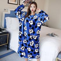 【天天特价】秋冬季睡裙女加长加肥加大珊瑚绒宽松胖MM孕妇睡衣裙