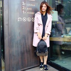 汐悠姿秋装新款大码女装韩版中长款粉色风衣胖mm时尚斗篷外套