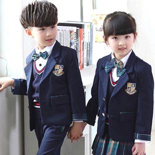 小学生校服英伦学院风班服幼儿园园服秋冬款三件套儿童表演服套装